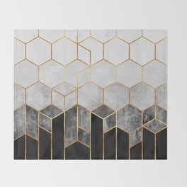 Charcoal Hexagons Throw Blanket