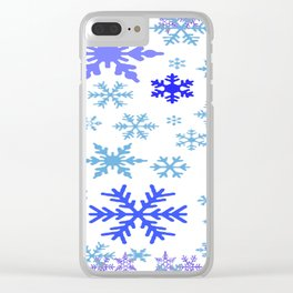 BLUE & PURPLE WINTER SNOWFLAKES ART ABSTRACT Clear iPhone Case