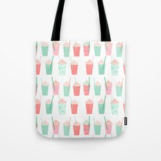 Cold summer drinks iced latte coffee milkshake ice cream hot beach day vacation food treat kids Tote Bag
