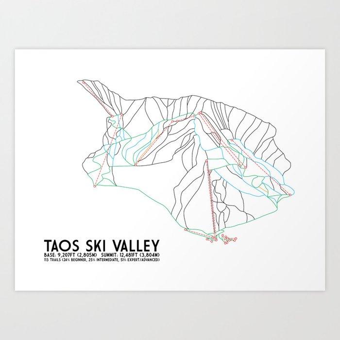 Taos Ski Valley, NM - Minimalist Trail Map Art Print