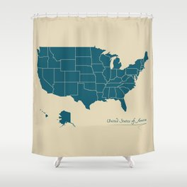 Modern Map - United States of America USA Shower Curtain
