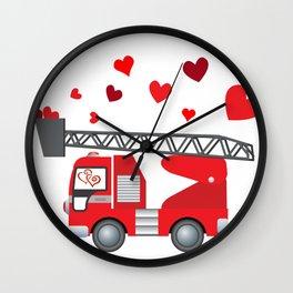 Valentine's Day Firetruck Hearts Gift Kids Boys Wall Clock