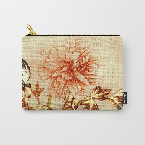 peach and golden floral Carry-All Pouch
