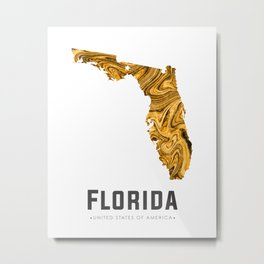 Florida - State Map Art - Abstract Map - Brown Metal Print