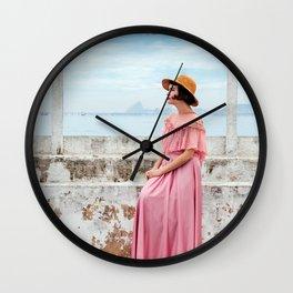 Woman in pink Wall Clock