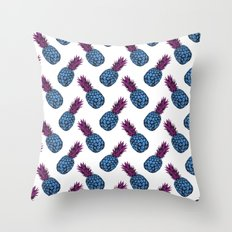 Neo-Pineapple - Blue Throw Pillow