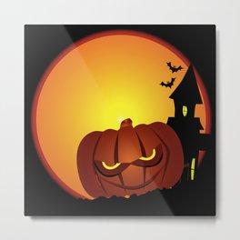 Evil Halloween Pumpkin Scene Metal Print