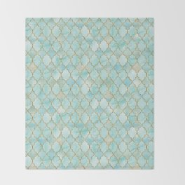 Luxury Aqua and Gold oriental pattern Throw Blanket