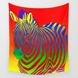 Colorful Psychedelic Rainbow Zebra Wall Tapestry
