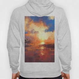 beautiful painting showing sunset on the lake Hoody