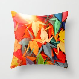 Senbazuru rainbow Throw Pillow