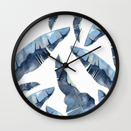 Banana Leaves 2 Blue Wall Clock