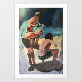 Boys on the beach. Asia. Oil on canvas painting digital print Art Print
