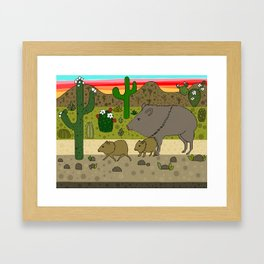 Javelinas in The Sonoran desert Framed Art Print