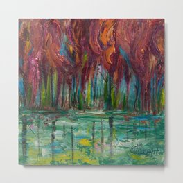 Red Trees Thick Impasto Abstract  Painting Metal Print