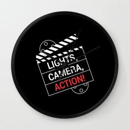 Light Camera Action Clapperboard Wall Clock