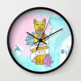 Cats Egypt Pyramid Gold Kitten Pets tabby tumblr gold typography kawaii meow print Wall Clock