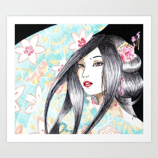 Geisha Glance Art Print