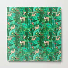 Sloths in the Emerald Jungle Pattern Metal Print