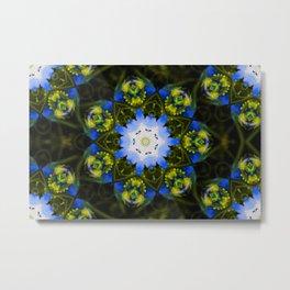 Kaleidoscopic Mandala Baby Blue Eyes Flower Metal Print