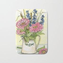 Pink Zinnias in Pitcher Watercolor Bath Mat