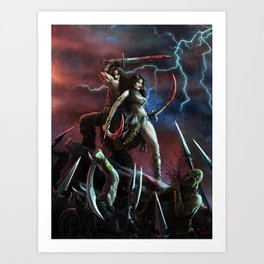 Barbarian and the Bellydancer Art Print