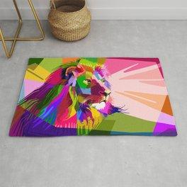 Colorful Lion Head (Illustration) Rug