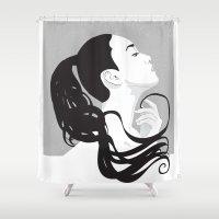 black swan Shower Curtains featuring Swan by Stevyn Llewellyn