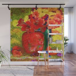 RED AMARYLLIS RED-GREEN VASE STILL LIFE Wall Mural