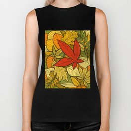 Hand drawn autumn illustration with various colorful fallen leaves. Biker Tank