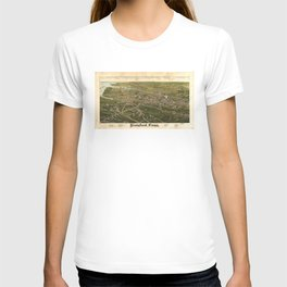 Vintage Pictorial Map of Stamford CT (1883) T-shirt