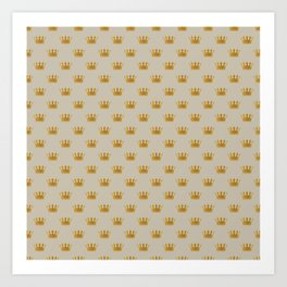 Mini George Grey with Gold Crowns Art Print
