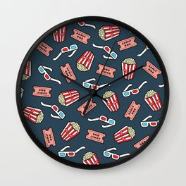 Movie Pattern in Dark Blue Wall Clock
