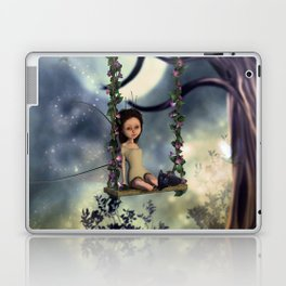 Cute little fairy with kitten on a swing Laptop & iPad Skin