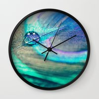 peacock Wall Clocks featuring Peacock by Marianne LoMonaco