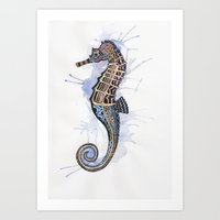 seahorse Art Prints featuring Seahorse by SilviaGancheva