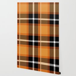 Orange + Black Plaid Wallpaper