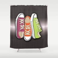 sneakers Shower Curtains featuring Running Shoes, Tennis Shoes, Sneakers by Tees2go