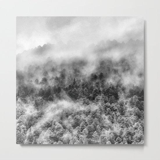 """Mountain light III BW"". Foggy forest. Metal Print"