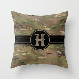 Camouflage Monogram: Letter H Throw Pillow