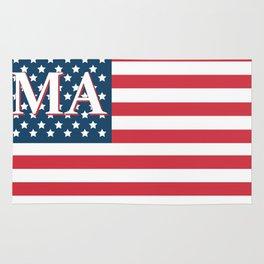 Massachusetts American Flag Rug