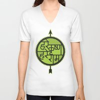 hare V-neck T-shirts featuring hare krishna hare rama by Kapil Bhagat
