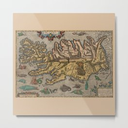 Antique Map Of Iceland 1603 Metal Print