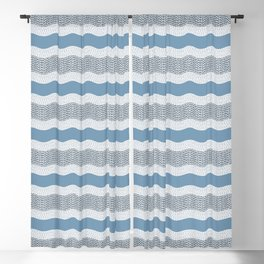 Wavy River in Blue and Gray 1 Blackout Curtain