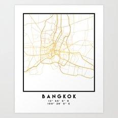 BANGKOK THAILAND CITY STREET MAP ART Art Print