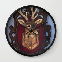 Stag Taxidermy Painting Wall Clock