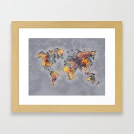 world map 111 #worldmap #world #map Framed Art Print