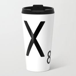 Letter X - Custom Scrabble Letter Tile Art - Scrabble X Initial Travel Mug