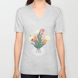 Bouquet of tulips in glass vase Unisex V-Neck
