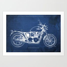 2010 Triumph Bonneville SE, motorcycle blueprint, husbands gift, offer, original poster, fathers day Art Print